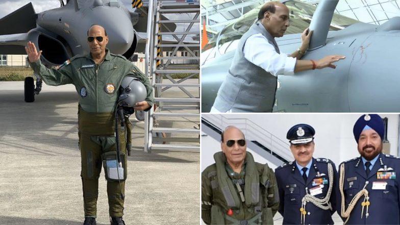 India's First Rafale Jet: భారత్ చేతికి తొలి రాఫేల్ యుద్ధ విమానం. ఇతర దేశాలను భయపెట్టడానికి కాదు, దేశ ఆత్మరక్షణ కోసమే అని తెలిపిన రక్షణ మంత్రి రాజ్నాథ్ సింగ్