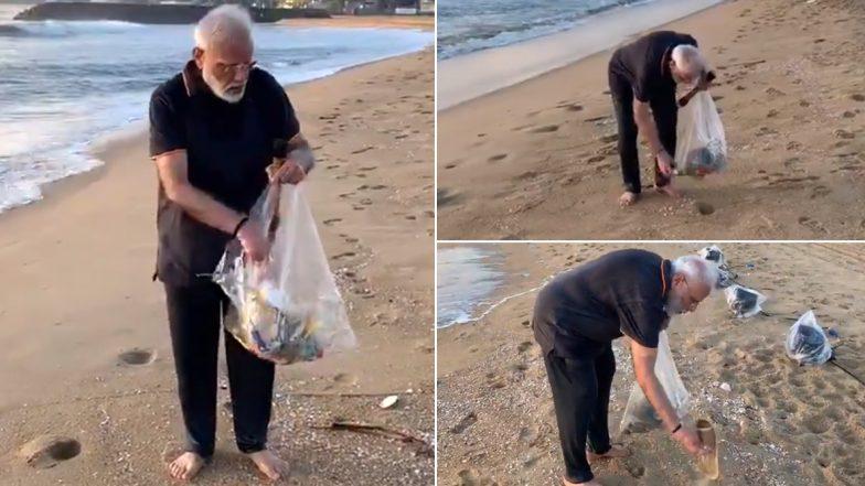 PM Modi Swachh Bharat: సాగరతీరంలో మోడీ స్వచ్ఛభారత్, మామల్లపురంలో బీచ్లో చెత్తను తొలగించిన భారత ప్రధాని, ఆరోగ్యంగా ఉండేందుకు ప్రతి ఒక్కరూ కదిలిరావాలని పిలుపు