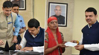 Fadnavis Takes Over As CM: సీఎంగా బాధ్యతలు స్వీకరించిన ఫడ్నవిస్, సీఎం రిలీఫ్ ఫండ్ చెక్పై తొలి సంతకం,24 గంటల్లో బలాన్ని నిరూపించుకోవాలన్న సుప్రీంకోర్టు