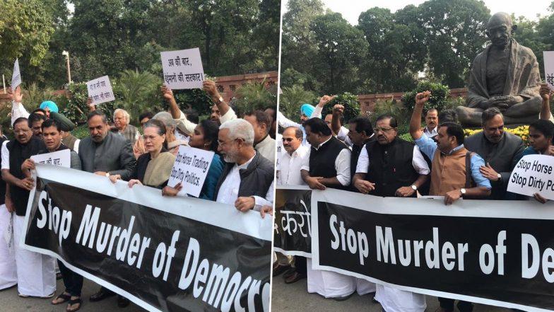 Murder Of Democracy In Maharashtra: పార్లమెంట్లో ప్రకంపనలు, ప్రజాస్వామ్యాన్ని హత్యచేశారన్న రాహుల్ గాంధీ, మహారాష్ట్ర రాజకీయాలకు వ్యతిరేకంగా పార్లమెంట్ బయట కాంగ్రెస్ పార్టీ నిరసన