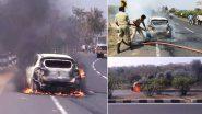 Car Catches Fire: నిర్మల్- ఆదిలాబాద్ హైవేపై ప్రయాణిస్తున్న కొత్త కారులో చెలరేగిన మంటలు, తృటిలో ప్రాణాపాయం తప్పించుకున్న ఓ కుటుంబం