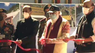 Atal Tunnel Inaugurated: అటల్ సొరంగమార్గాన్ని ప్రారంభించిన ప్రధాని, సముద్ర మట్టానికి 10 వేల అడుగుల ఎత్తులో టన్నెల్, మనాలీ -లేహ్ మధ్య రోహ్తాంగ్ పాస్ వద్ద అటల్ టన్నెల్ ఏర్పాటు