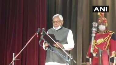 Nitish Takes Oath as Bihar CM: ఏడవసారి బీహార్ సీఎంగా నితీష్ కుమార్ ప్రమాణ స్వీకారం, ఉపముఖ్యమంత్రులుగా తార్కిషోర్ ప్రసాద్, రేణూ దేవీ, 12 మంది మంత్రులతో కొత్త క్యాబినెట్