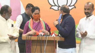 Vijayashanti Joins BJP: కేసీఆర్ని గద్దె దింపేది మేమే, కాంగ్రెస్ పార్టీ పోరాడలేని స్థితికి చేరుకుంది, బీజేపీలో చేరిన విజయశాంతి, చేరిన వెంటనే తెలంగాణ సీఎంపై మాటల తూటాలు పేల్చిన రాములమ్మ