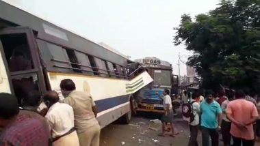 Vizianagaram Road Accident: కమ్మేసిన పొగ..విజయనగరంలో ఘోర రోడ్డు ప్రమాదం, గ్యాస్ సిలిండర్ల లారీ-రెండు ఆర్టీసీ బస్సులు ఢీ, ముగ్గురు దుర్మరణం, పలువురి పరిస్థితి విషమం