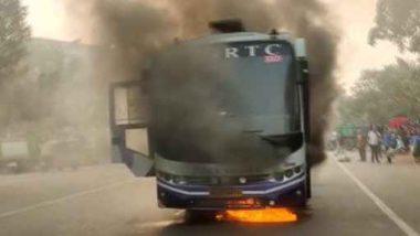 RTC Bus Fire: కాకినాడ నుంచి విజయవాడ వెళుతున్న ఆర్టీసీ బస్సులో మంటలు, ప్రమాదంలో సగం వరకు కాలిపోయిన ఇంద్ర బస్, బస్సులోని 15 మంది సేఫ్